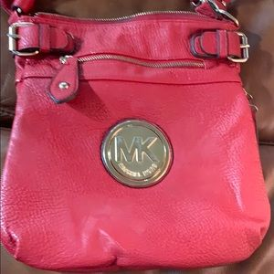 Red MK Double Strap Crossbody Shoulder Bag